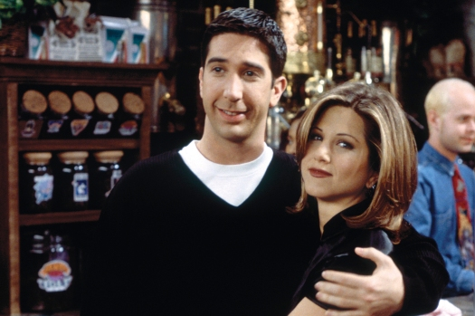 """FRIENDS -- """"The One with the Lesbian Wedding"""" Episode 11 -- Pictured: (l-r) David Schwimmer as Ross Geller, Jennifer Aniston as Rachel Green (Photo by Paul Drinkwater/NBC/NBCU Photo Bank via Getty Images)"""
